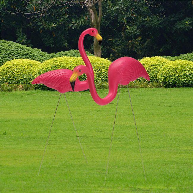 Ružičasti flamingo za baštu - 2 komada 1