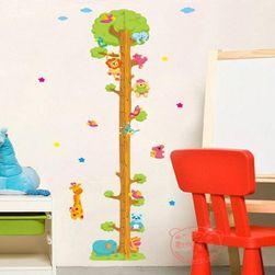 Dětský metr - samolepka na zeď strom se zvířatky