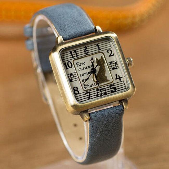 Dámské hodinky se čtvercovým ciferníkem zdobeným kočkou - více barev 1
