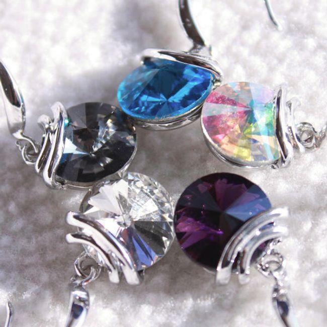 Elegantne minđuše sa kamenom u boji 1