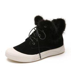 Dámské kotníkové boty s kožíškem