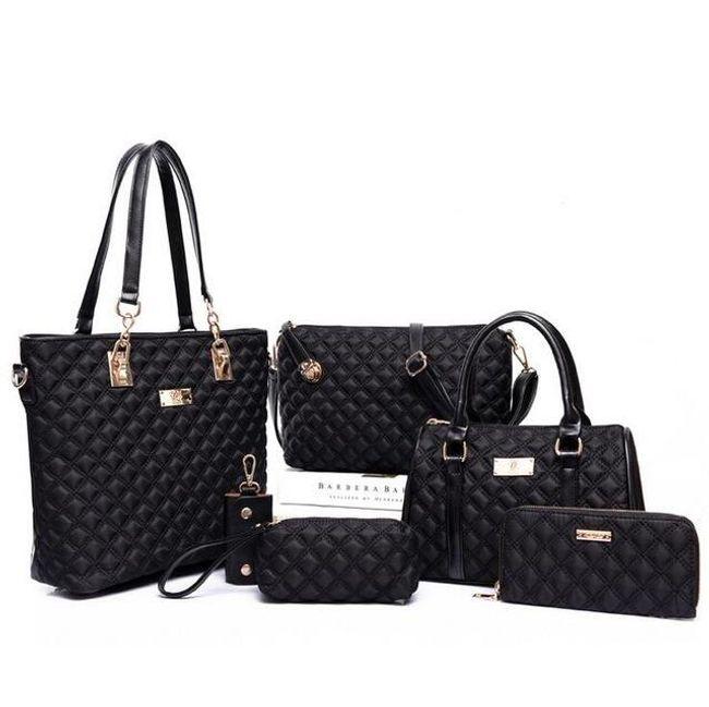 Velká sada dámských kabelek - 6 dílů - černá barva 1