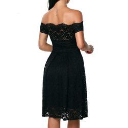 Šaty pro dámy se spadlými rameny - Černá barva - velikost č. 5