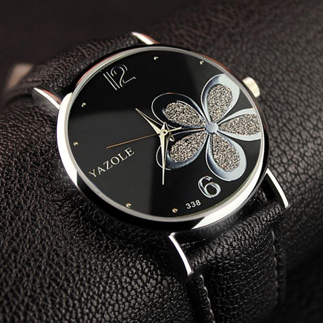 Ženski sat sa motivom cveća - crna 1