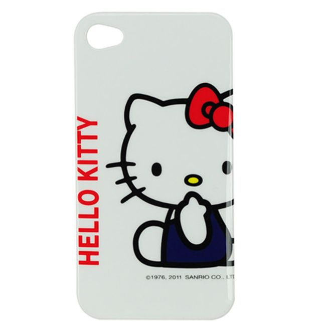 Plastový ochranný kryt na iPhone 4 a 4S - Hello Kitty bílý 3 1