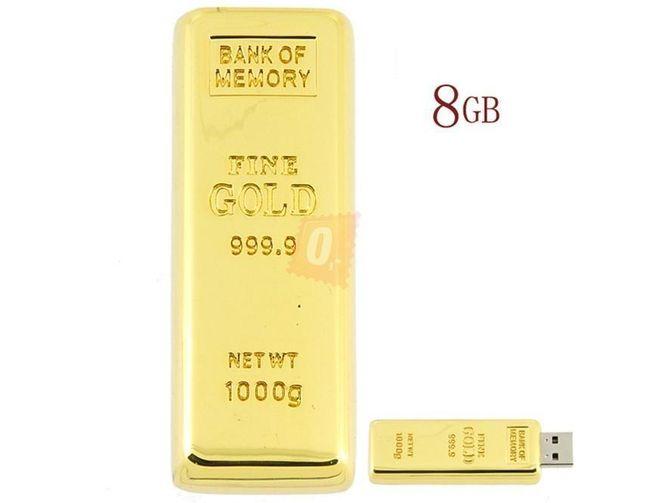 8GB Flashdisk - zlatá cihla 1
