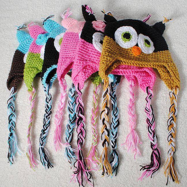 Veselé dětské čepičky s motivem sovy v 6 barevných kombinacích 1