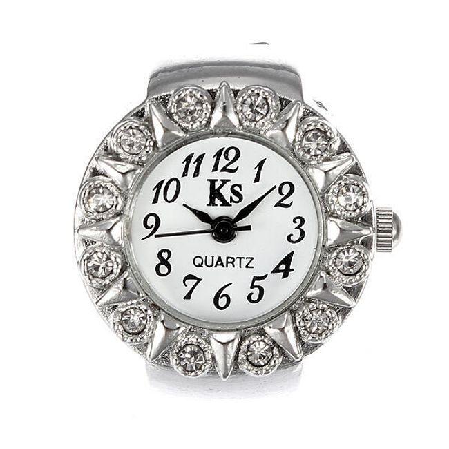 Srebrny zegarek pierścionkowy z kamyczkami 1
