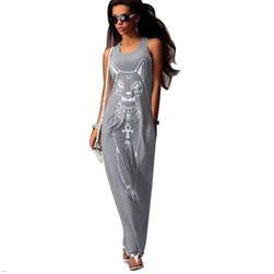 Дамска дълга рокля с печат на египтска котка - 3 цвята