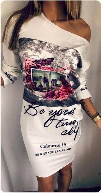 Prelepa haljina sa otkrivenim ramenom i originalnom štampom 1