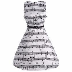 Rochie retro în alb cu note muzicale - 5 dimensiuni