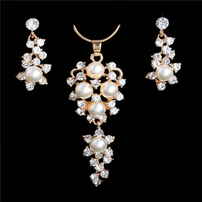 Luxusní sada šperků s umělými perličkami 1