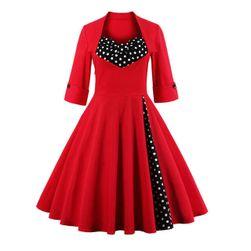 Стильное ретро-платье с длинными рукавами