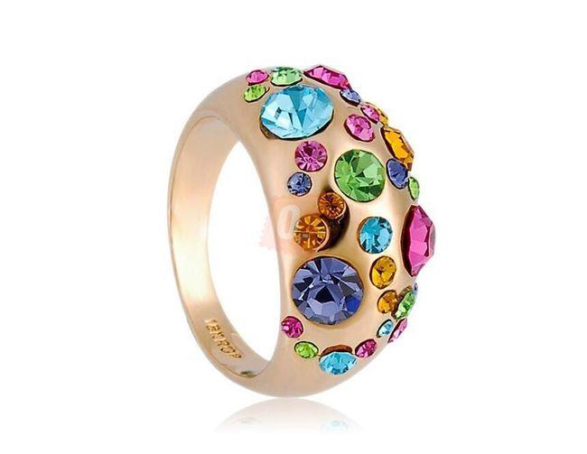 Prstýnek s různě velkými barevnými kamínky - zlatá barva 1