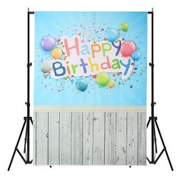 Ateliérové fotopozadí 3 x 5 m - Modrá zeď s nápisem HAPPY BIRTHDAY