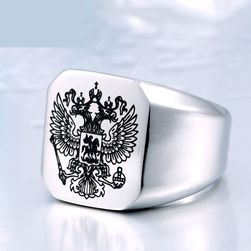 Pánský prsten se státním znakem Ruska - 3 barvy
