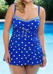 Plus size dwuczęściowy strój kąpielowy w groszki - 2 kolory