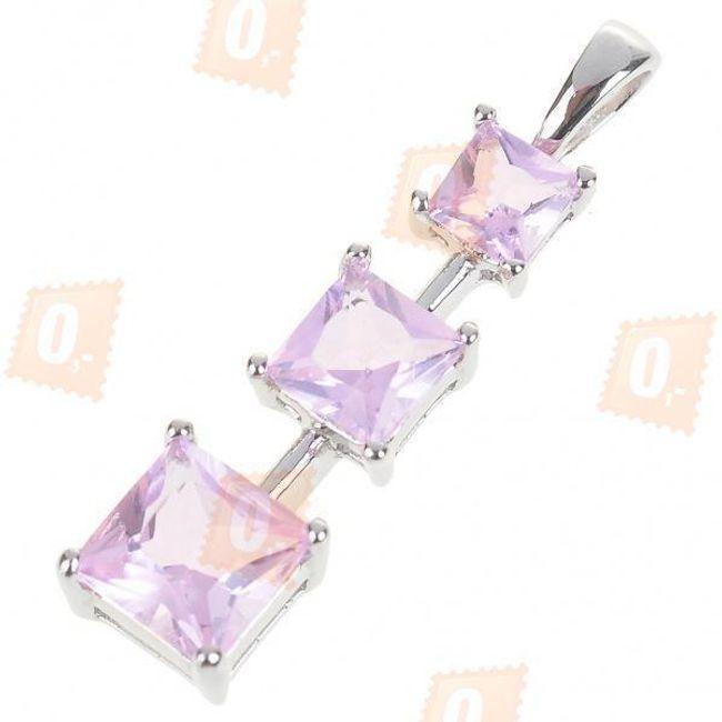 Přívěsek na náhrdelník s kamínky v růžové barvě 1