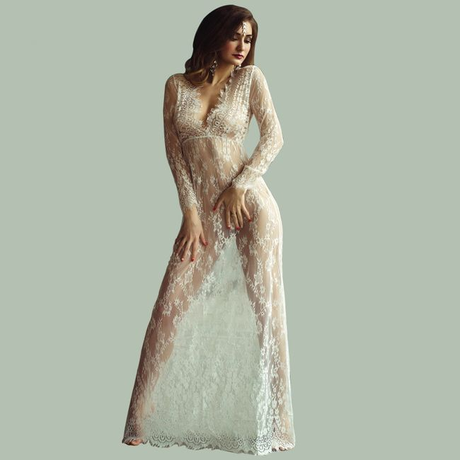 Rochie transparentă cu dantelă - 9 culori 1