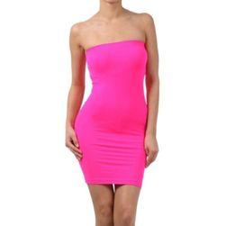 Jednobojna mini haljina bez naramenica - 5 boja
