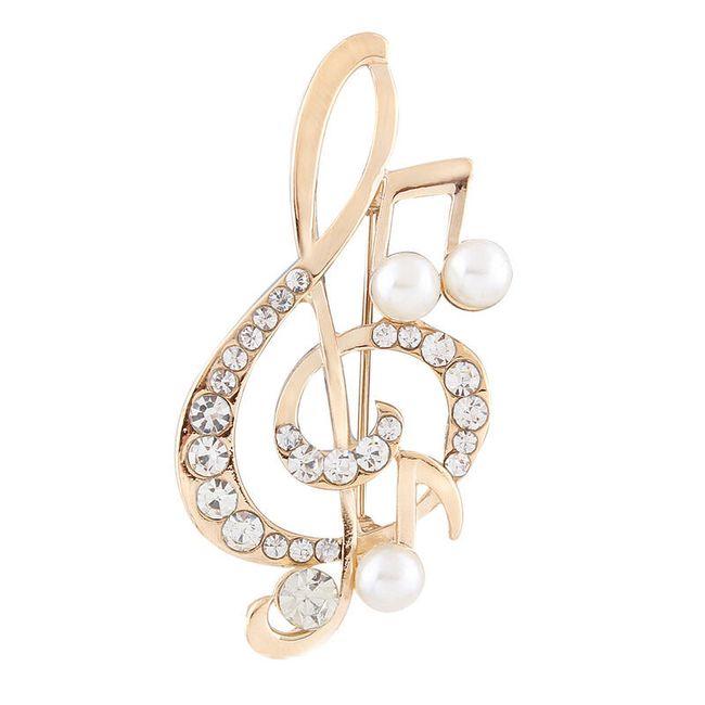 Brož ve tvaru houslového klíče s notičkami  1