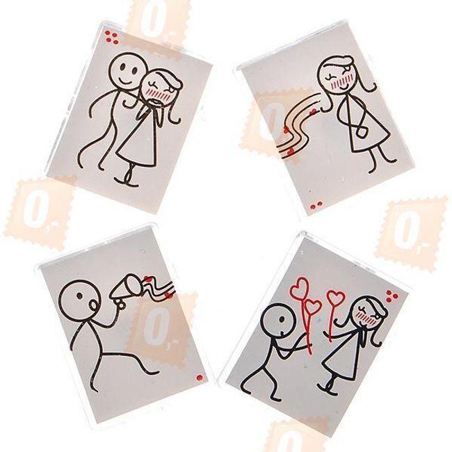 Romantické magnety na lednici s originálními kresbami - 4 ks 1