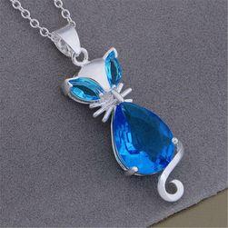 Ženska ogrlica - plava mačka