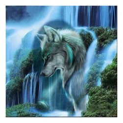 5D slika sa kamenčićima - vuk i vodopad