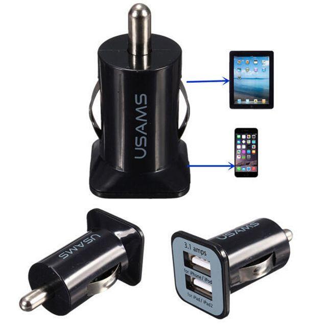 Fekete autós töltő 2 USB porttal 1