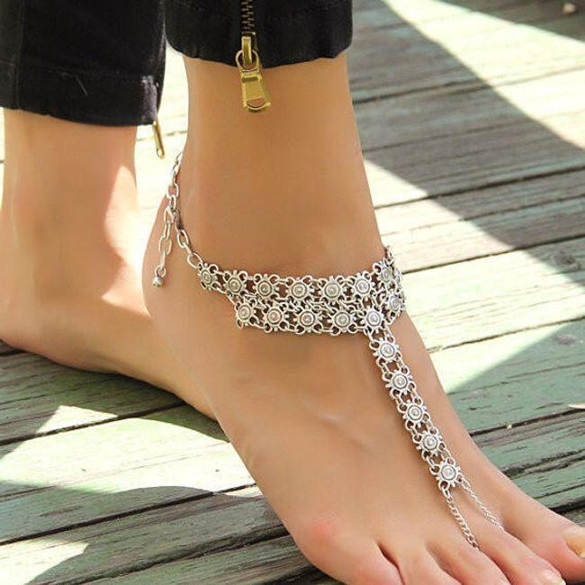 Винтажный браслет на ногу  с интересным декором 1