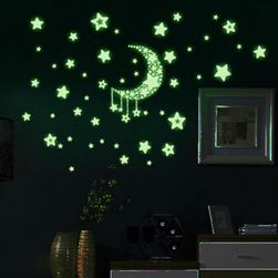 Наклейки светящиеся в темноте - луна со звездами