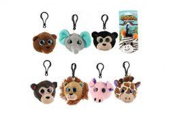 Přívěšek klíčenka na klíče plyš safari zoo 8cm 8 druhů na kartě 18m+ RM_00542600