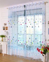 Firanka z motywami kwiatków i balonów niebieski
