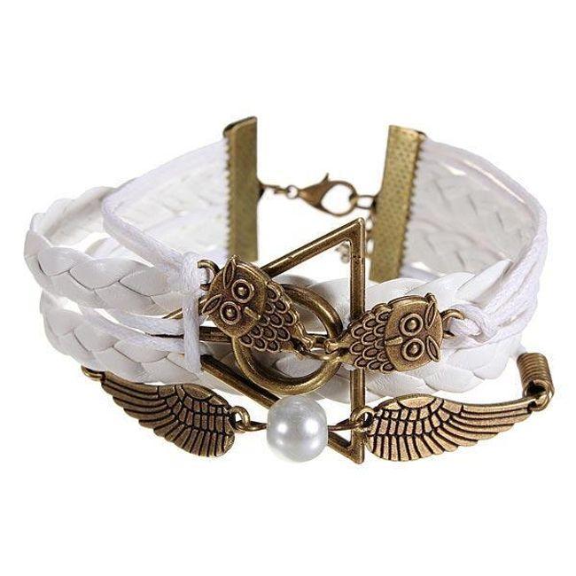 Бяла гривна със совички и перла 1