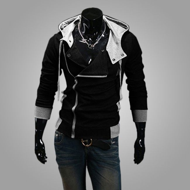Stílusos pulóver oldalán cipzárral és motorháztetővel - férfi