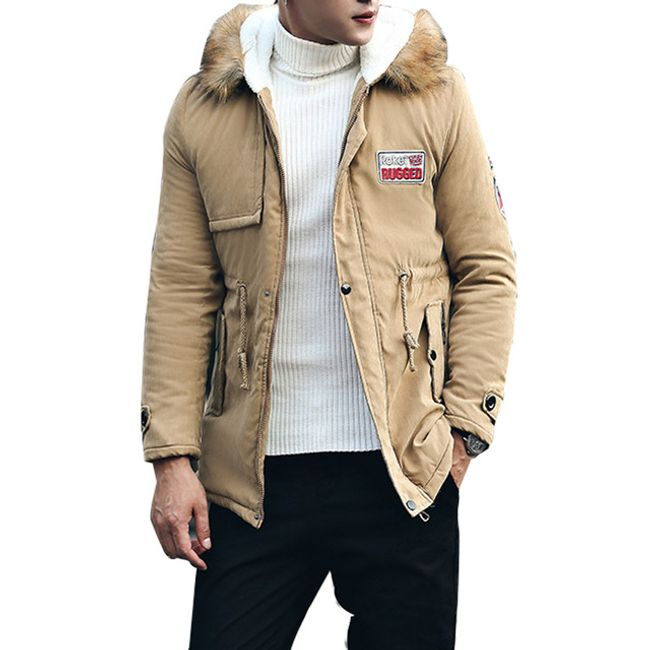 Pánská zateplená bunda Calvin - Khaki-L 1