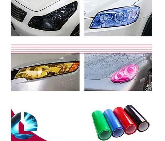 Dekoracyjne folie samochodowe na reflektory samochodowe - 5 kolorów 1