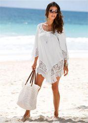 Bela haljina za plažu sa čipkom