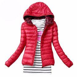 Bayan sonbahar kapüşonlu ceket kırmızı, L