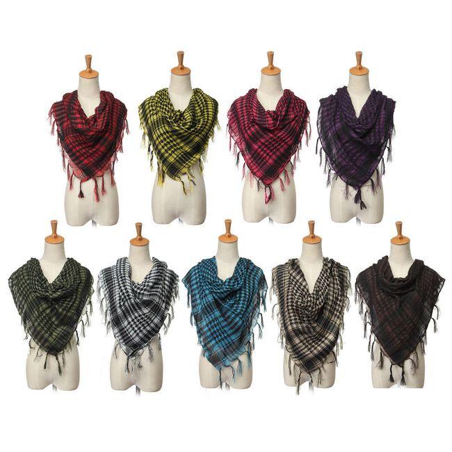 Unisex kostičkovaný šátek s třásněmi 1