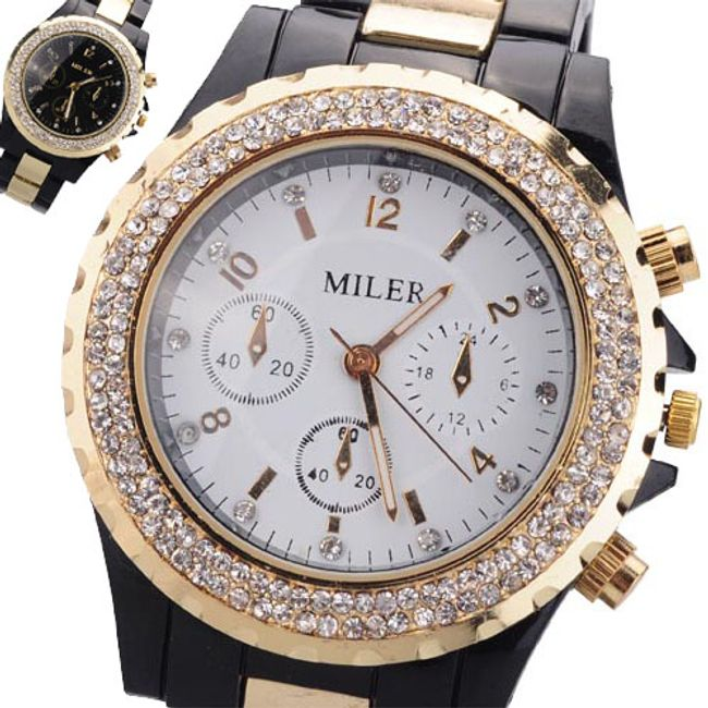 Luksusowy zegarek z kamyczkami - kombinacja koloru białego i czarnego 1