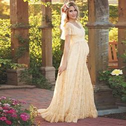 Dlouhé krajkové šaty pro těhotné