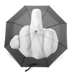 Składany parasol z wystawionym środkowym palcem