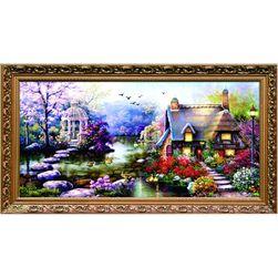 DIY obraz do wyszywania - dom z ogrodem
