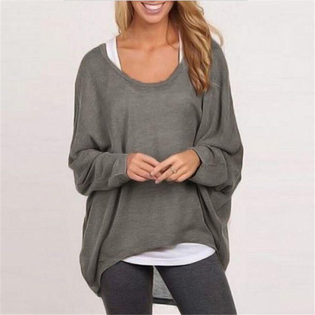 Lehký dámský svetřík v mnoha barvách - Šedá, velikost 6 1