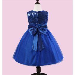 Dívčí šaty s flitry a mašlí - 3 barvy