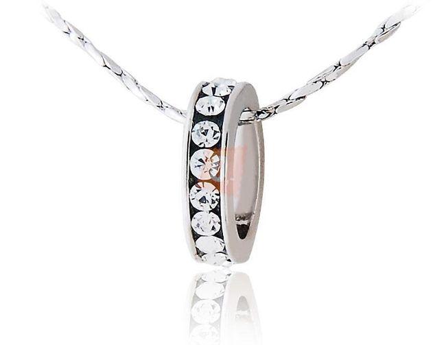 Náhrdelník s černým kroužkem a kamínky - stříbrná barva 1