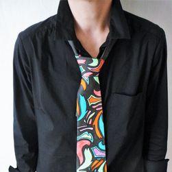 Hedvábná ručně malovaná kravata Psychedelická abstrakce