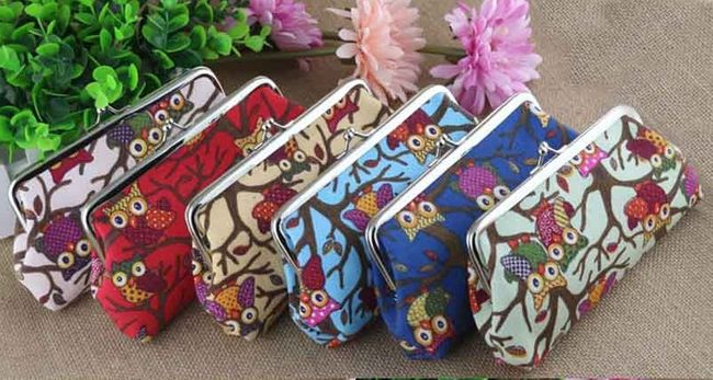 Plátěná peněženka se sovičkami - 6 barev 1