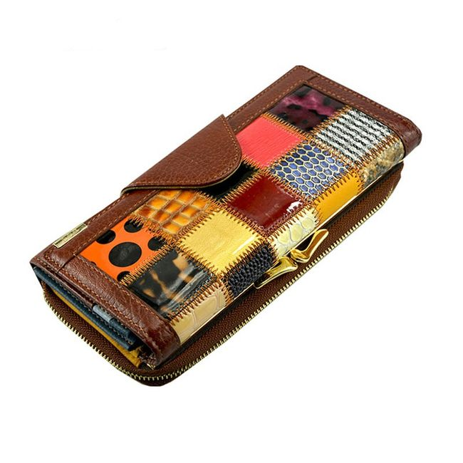 Dámská pestrobarevná peněženka z umělé kůže - 3 barvy / 3 velikosti 1